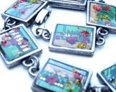 Johnny2: Circuit Board Bracelet ,Resin,Recycle, Real Flowers