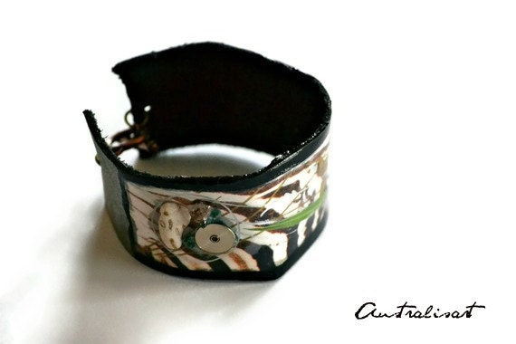 Call of the Zebra,Leather, Bracelet,Zebra Print,Resin,Modern Art,Stone,Amethys,Plant,Cuff
