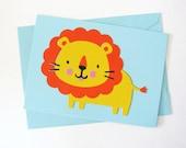 Kawaii Cute Lion - Blue Blank Card by glamazon08 on Etsy