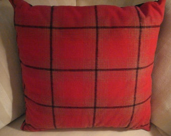 Holiday Red and Black Plaid Pillow
