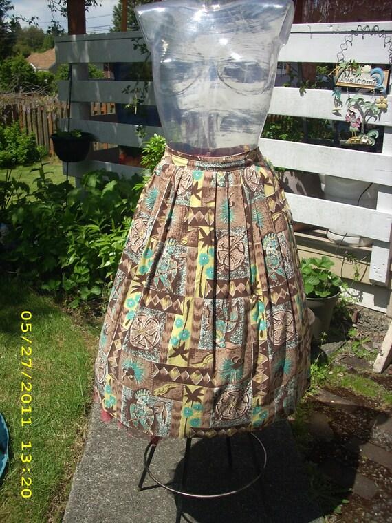 Vintage Tiki tropical hawaiian birds palm trees novelty skirt