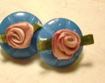 Vintage Blue Button Earrings and Rosette Earrings