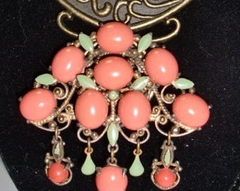 Vintage Bohemian Brooch, Coral and Green, Enamel and Brass, Statement Brooch