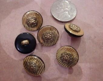 Button Destash Round Gold Striped Designer Buttons 10