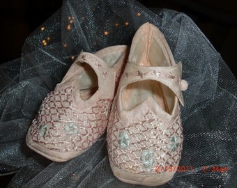Antique Pink Silk Baby Slippers, Downton Abbey