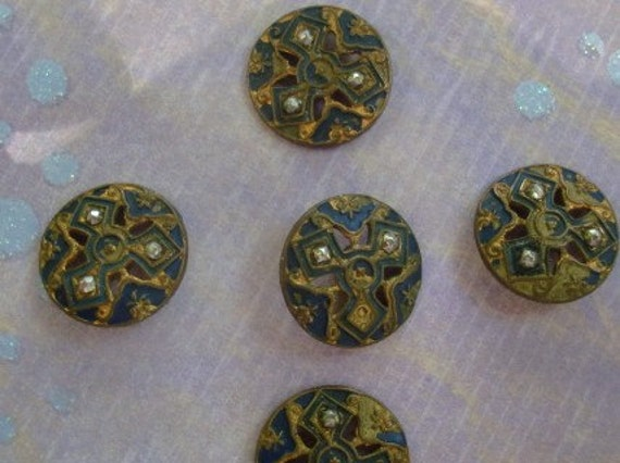Victorian Brass and Marcasite Antique Buttons