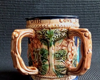 "Vintage Two Handled Kissing Stein - Mug  ""Just in Time for your Valentine"""