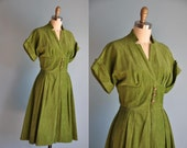vintage 1950s OLIVE GREEN corduroy full skirt dress