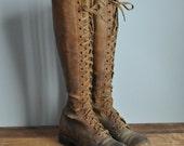 R E S E R V E D....vintage antique rare 1930s Steampunk Leather lace up boots