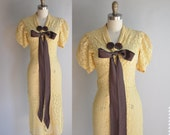 r e s e r v e d...vintage 1930s dress // 30s lace dress // yellow and brown art deco lace dress