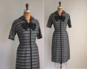 1950s dress / vintage 1950s 50s black and silver stripe dress / Sliver Plates
