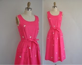 vintage 1960s dress / 60s bright pink floral frock / Pretty Things