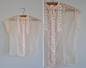 1950s pink lace blouse / 50s sheer pink lace blouse / Dinner At Pinks