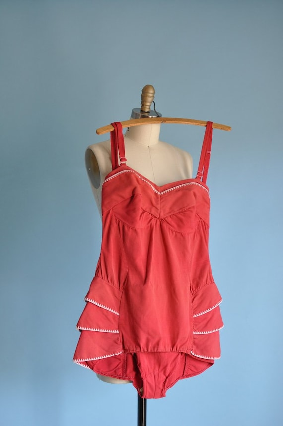 SHOP SALE...vintage 1940s red HIPS ARE MY RUFFLE swimsuit