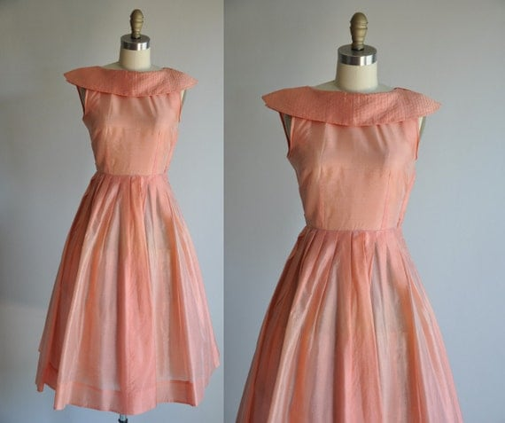 vintage 1950s pink shimmer My Sweetheart cocktail dress