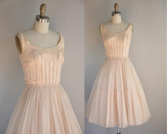 1950s vintage dress // 50s cocktail dress // Princess Sequin Chiffon Designer Cocktail Dress