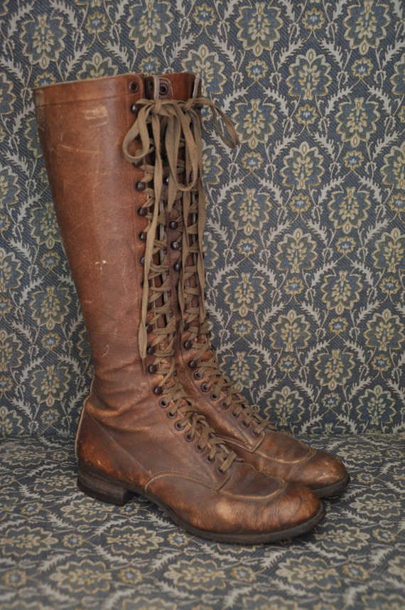 1920s leather boots vintage antique 20s 30s leather lace up
