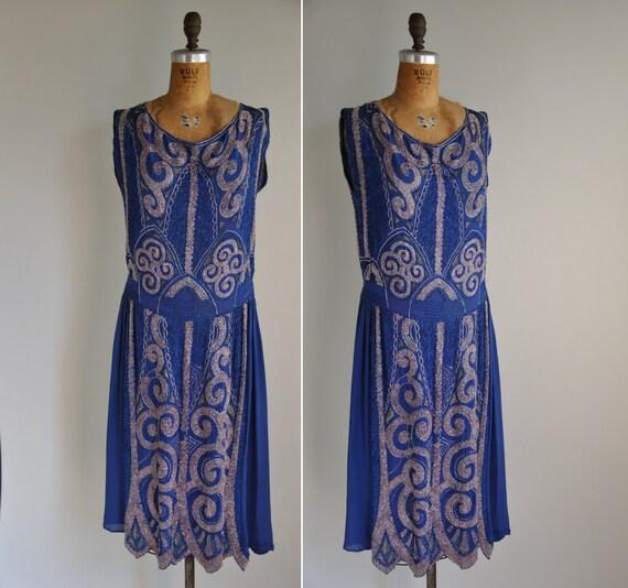 Vintage 1920s Dress / 1920s 20s Rare Golds Lame Heavily Beaded