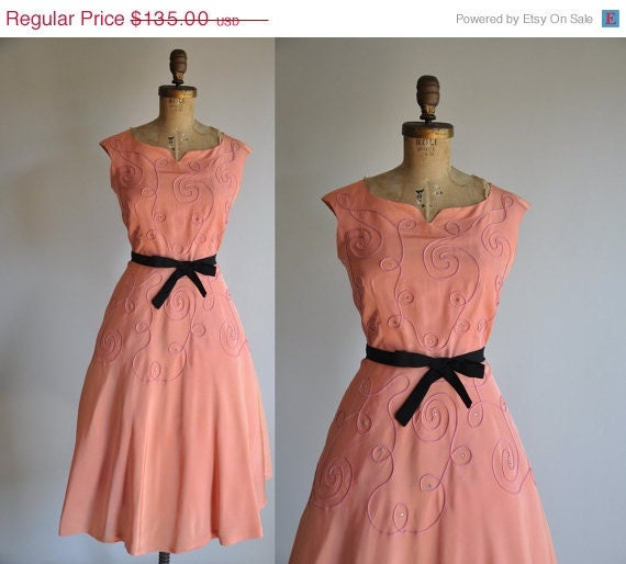 HUGE SALE 35% off..//.. 1950s dress / vintage 1950s 50s rhinestone cocktail party dress / Sherbet Swirl