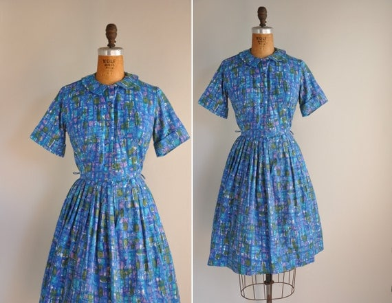 vintage 1950s dress / 50s cotton full skirt Ann Taylor dress / Lunch At Central Park