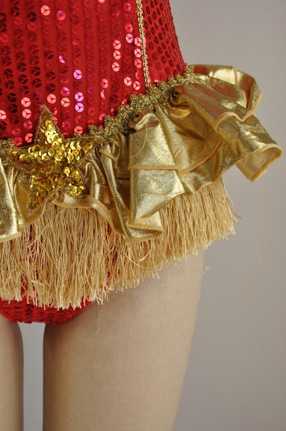 Vintage Rare Showgirl Costume Red And Gold By