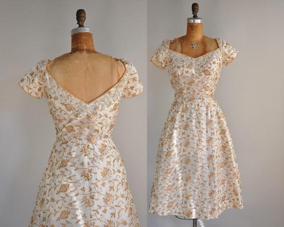 1950s 50s vintage dress // designer  vintage 50s cocktail dress // Cappuccino Delight