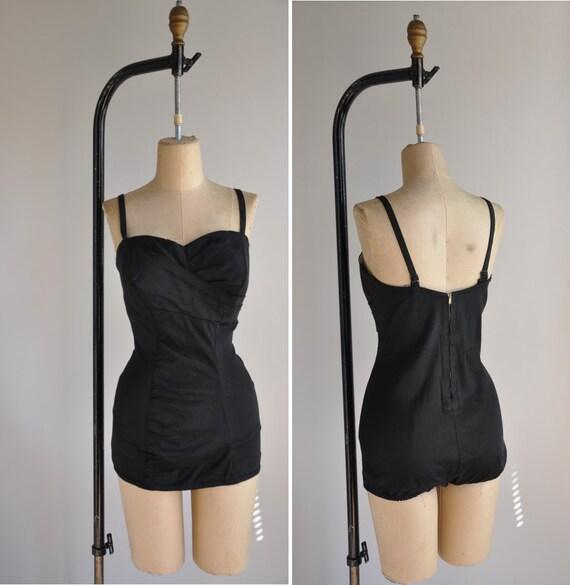 r e s e r v e d...1950s vintage swimsuit / 50s bombshell black plus size bathing suit / Beach Vixen