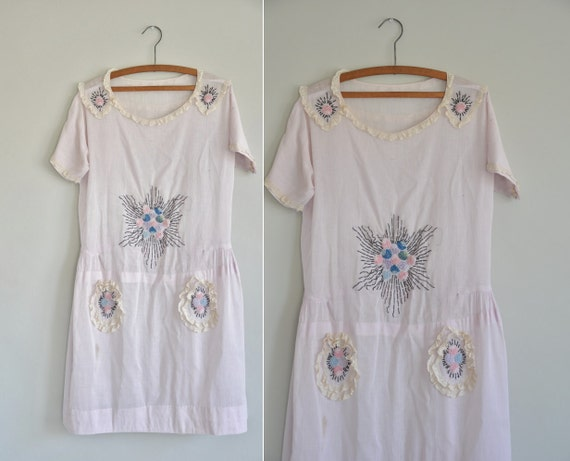 r e s e r v e d...20s antique cotton frock / 1920s 20s rare lavender embroidered cotton frock / A Dreamer