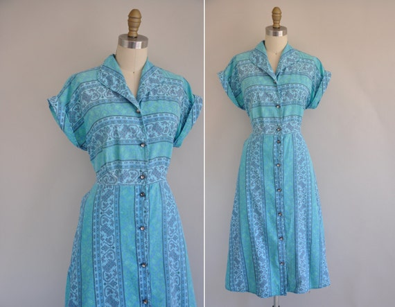 1950s dress / vintage 1950s cotton print house dress / Blue Shadows
