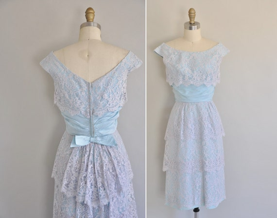 vintage 1950s 50s dress / 50s designer Emma Domb blue lace cocktail dress / Is It To Late