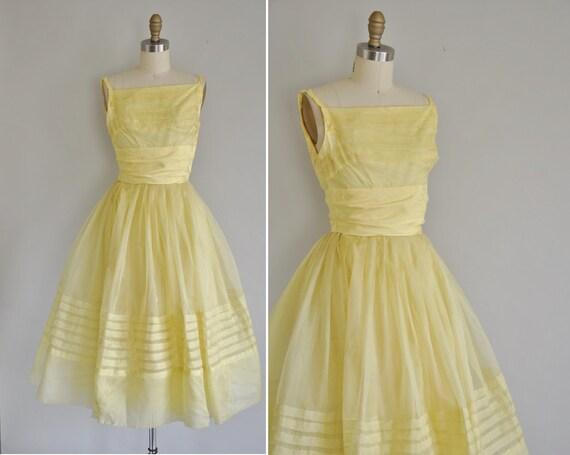 1950s prom dress / vinatge 1950s 50s buttercup yellow chiffon dress / Honey Bee