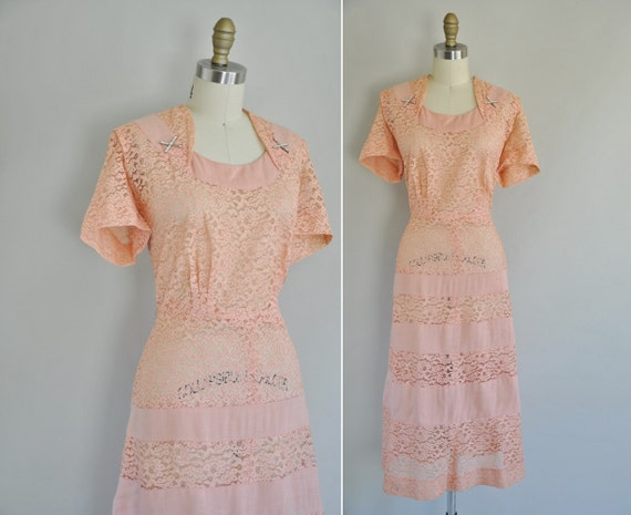 vintage 1950s pink lace dress / 50s dress / To The Love You Lent Me