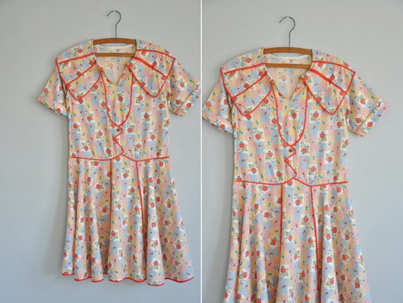 1920s cotton print frock / 1920s 20s novelty cotton frock / Darling Lolita