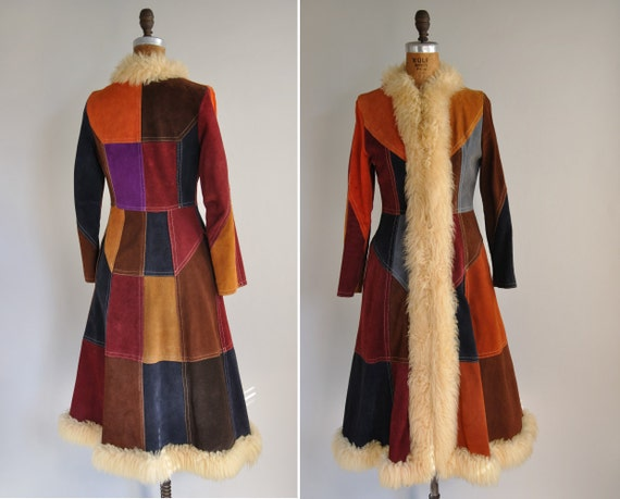 vintage 1960s coat / 1960s 60s rare leather patchwork princess coat / Back From Woodstock