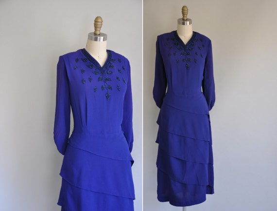 r e s e r v e d...1940s rayon crepe dress / 40s dress / Forever Young