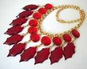 Red Candy Crystal Statement necklace