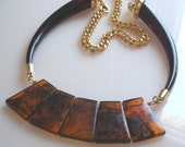 Statement Bib Necklace Lucite Amber Collar