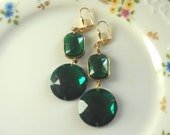 Emerald Green Statement Chandelier Earrings