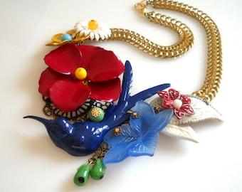 Enamel Bird Necklace,Red  Flower Statement Necklace, Bold Bib vIntage Necklace