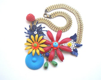 Flower Enamel Statement Necklace Bib Bold in Red and Blue