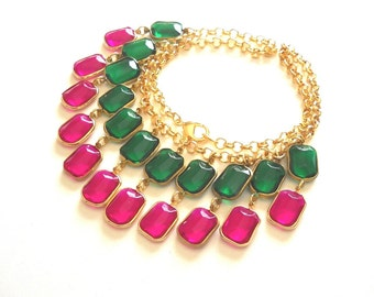 Crystal Chandelier Necklace, Emerald Statement Necklace, Pink Fuchsia and green vintage style jewelry