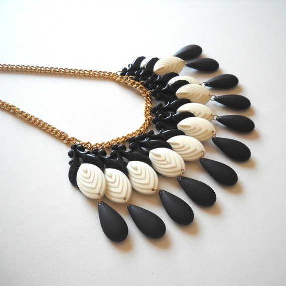 Statement Bib Necklace Chandelier Teardrops in Black and White