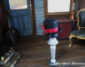 Dollhouse Miniature Black Leather Steampunk Top Hat in 1:12 Scale