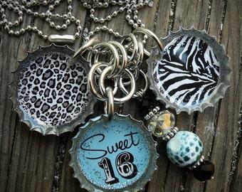 Sweet 16 Themed Blue Bottle Cap Necklace