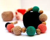 Nursing Mom necklaces / Teething necklace (Natural materials: cotton, wood) - Bahamas (green, peach, black, pale brown)
