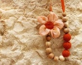 Orange Flower Breastfeeding Necklace/Crochet Fabric Necklace for mom Nursing necklace /Teething necklace (Natural materials: cotton, wood)