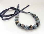 Summer Crochet Jewelry / Crochet Fabric Necklace for mom / Nursing necklace / Teething necklace (Natural materials) Grey/Yellow