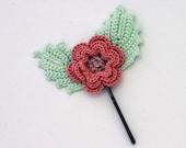 Crocheted Rose Hair Bobby Pin / Crocheted Flower Hair Clip/ Hair Barrete/ Gift Under 10