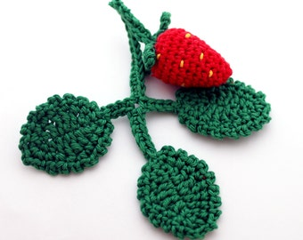 Crochet Toy - Strawberry - Cotton - Yellow, Green -  for baby / girl / boy
