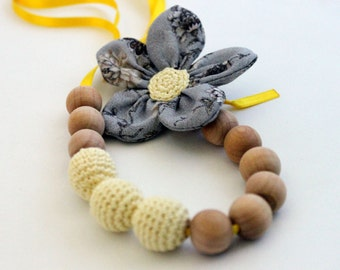 Crochet Womaen Jewelry /Crochet Fabric Necklace for mom Nursing necklace /Teething necklace (Natural materials: cotton, wood)